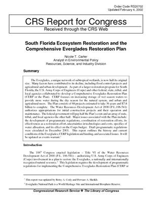 South Florida Ecosystem Restoration and the Comprehensive Everglades Restoration Plan