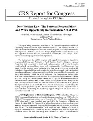 New Welfare Law: The Personal Responsibility and Work Opportunity Reconciliation Act of 1996
