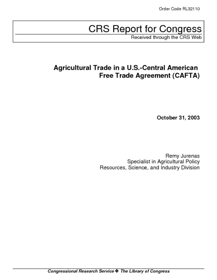 Agricultural Trade In A Us Central American Free Trade Agreement