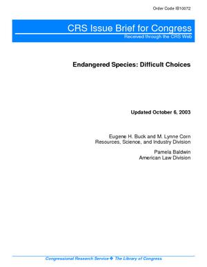Endangered Species: Difficult Choices