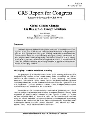 Global Climate Change: The Role of U.S. Foreign Assistance