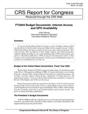 FY2004 Budget Documents: Internet Access and GPO Availability