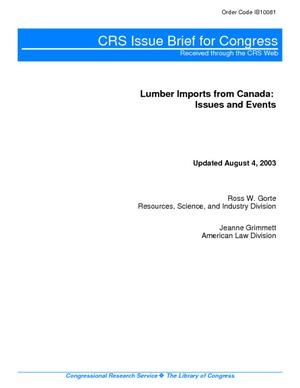 Lumber Imports from Canada: Issues and Events