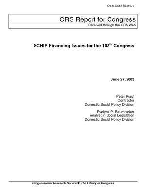 SCHIP Financing Issues for the 108th Congress