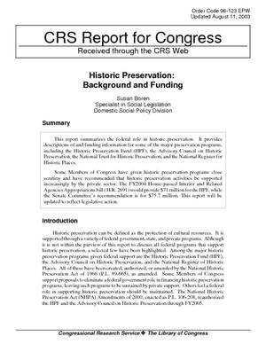Historic Preservation: Background and Funding