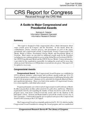 A Guide to Major Congressional and Presidential Awards
