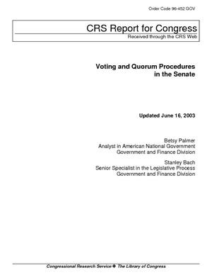 Voting and Quorum Procedures in the Senate