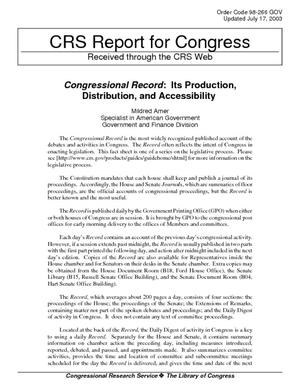 Congressional Record: Its Production, Distribution, and Accessibility