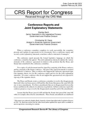 Conference Reports and Joint Explanatory Statements