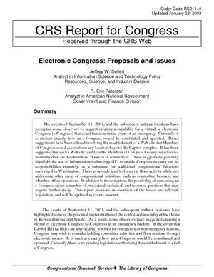 Electronic Congress: Proposals and Issues
