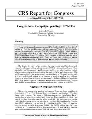 Congressional Campaign Spending: 1976-1996