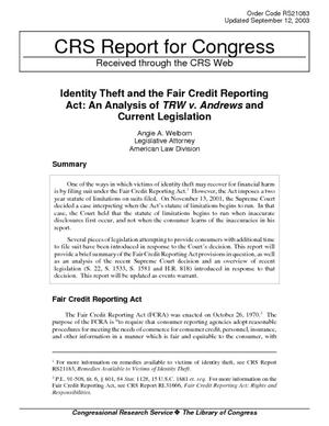 Identity Theft and the Fair Credit Reporting Act: An Analysis of