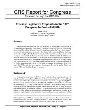 Ecstasy: Legislative Proposals in the 107th Congress to Control MDMA