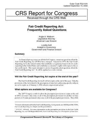 Fair Credit Reporting Act: Frequently Asked Questions