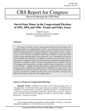 Out-of-State Money in the Congressional Elections of 1992, 1994, and 1996: Trends and Policy Issues