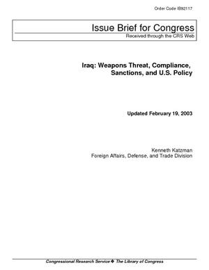 Iraq: Weapons Threat, Compliance, Sanctions, and U.S. Policy