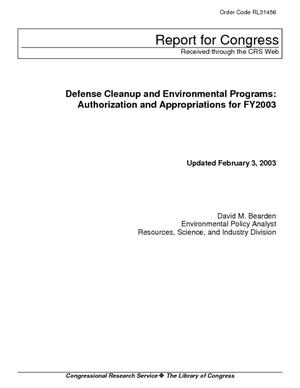 Defense Cleanup and Environmental Programs: Authorization and Appropriations for FY2003