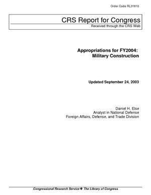 Primary view of Appropriations for FY2004: Military Construction