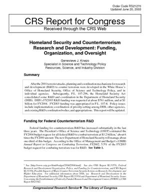 Homeland Security and Counterterrorism Research and Development: Funding, Organization, and Oversight