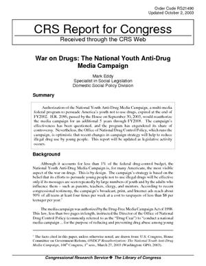 War on Drugs: The National Youth Anti-Drug Media Campaign