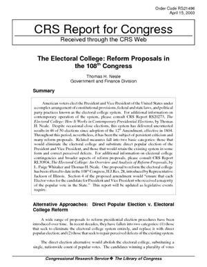 The Electoral College: Reform Proposals in the 108th Congress