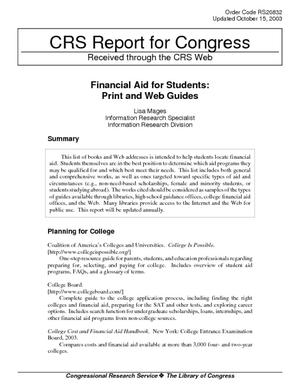 Financial Aid for Students: Print and Web Guides