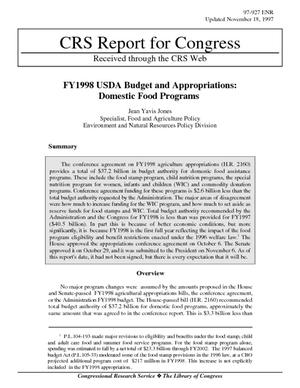 FY1998 USDA Budget and Appropriations: Domestic Food Programs