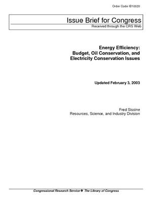 Energy Efficiency: Budget, Oil Conservation, and Electricity Conservation Issues