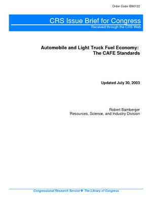 Automobile and Light Truck Fuel Economy: The CAFE Standards