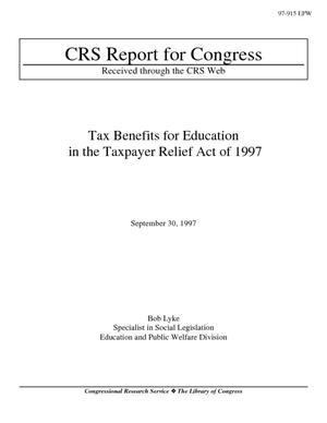 Tax Benefits for Education in the Taxpayer Relief Act of 1997