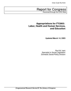 Appropriations for FY2003: Labor, Health and Human Services, and Education
