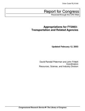 Appropriations for FY2003: Transportation and Related Agencies