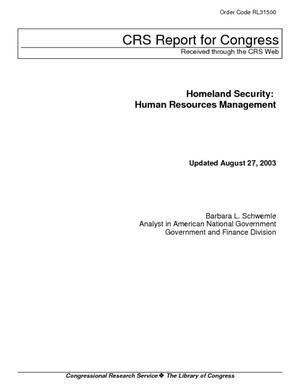 Homeland Security: Human Resources Management