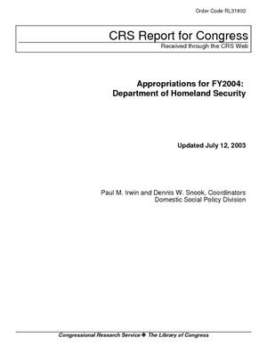 Appropriations for FY2004: Department of Homeland Security