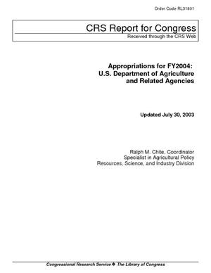 Appropriations for FY2004: U.S. Department of Agriculture and Related Agencies