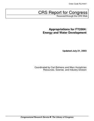 Appropriations for FY2004: Energy and Water Development