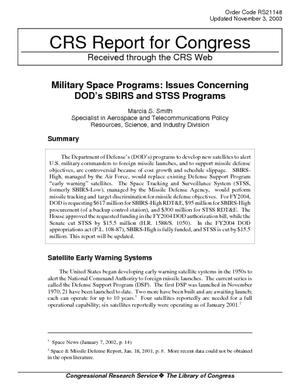 Military Space Programs: Issues Concerning DOD's SBIRS and STSS Programs