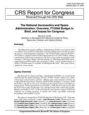 The National Aeronautics and Space Administration: Overview, FY2004 Budget in Brief, and Issues for Congress