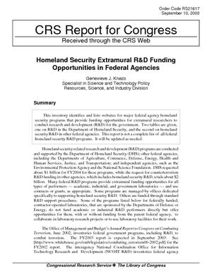 Homeland Security Extramural R&D Funding Opportunities in Federal Agencies