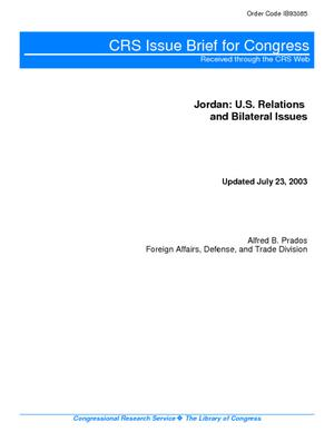 Jordan: U.S. Relations and Bilateral Issues