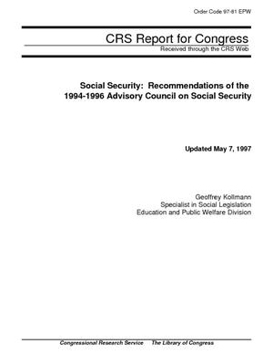 Social Security: Recommendations of the 1994-1996 Advisory Council on Social Security