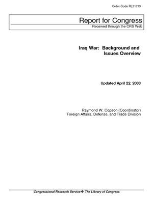 Iraq War: Background and Issues Overview