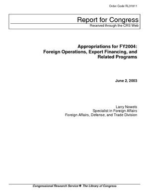 Appropriations for FY2004: Foreign Operations, Export Financing, and Related Programs