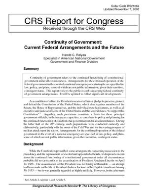 Continuity of Government: Current Federal Arrangements and the Future