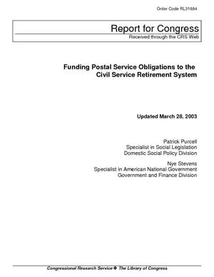 Funding Postal Service Obligations to the Civil Service Retirement System