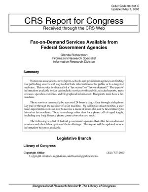 Fax-on-Demand Services Available from Federal Government Agencies