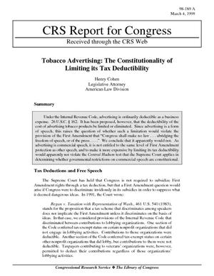 Tobacco Advertising: The Constitutionality of Limiting its Tax Deductibility