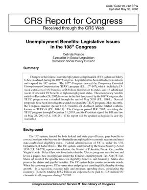 Unemployment Benefits: Legislative Issues in the 108th Congress
