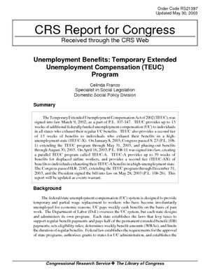 Unemployment Benefits: Temporary Extended Unemployment Compensation (TEUC) Program