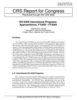 HIV/AIDS International Programs: Appropriations, FY2002-FY2004